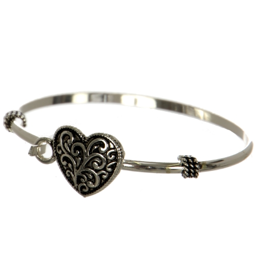 Wholesale WA00 Filigree heart pendant bangle Filigree pendant bangle bracelet - Heart AS
