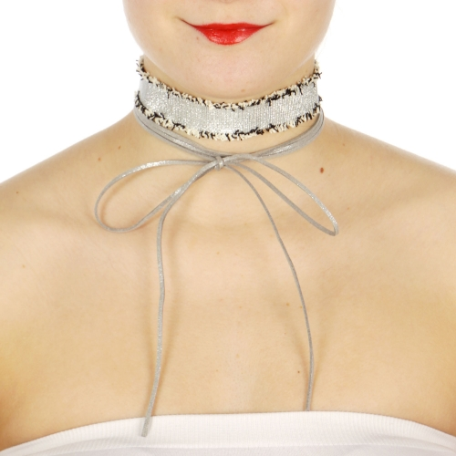 Wholesale WA00 Faux suede & frilled strap two choker set RSL