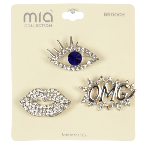 Wholesale WA00 Eye, lips & OMG! brooch set RBL
