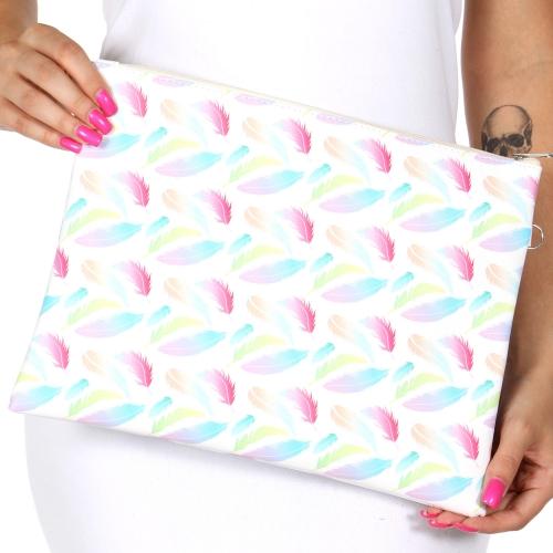 Wholesale T80 Rainbow feathers rectangular clutch bag w/ shoulder strap