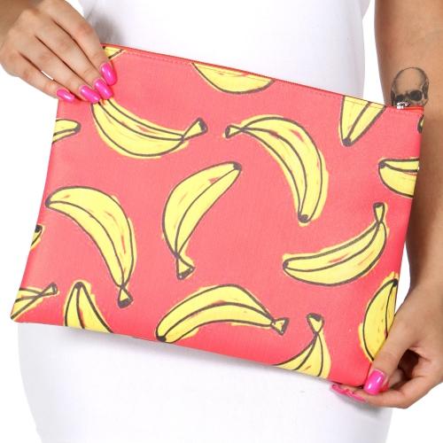 Wholesale T80 Red & bananas rectangular clutch bag w/ shoulder strap