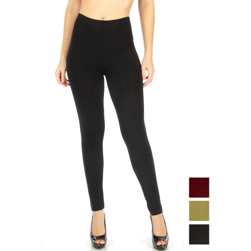 Wholesale E06 Solid cotton leggings Black fashionnic