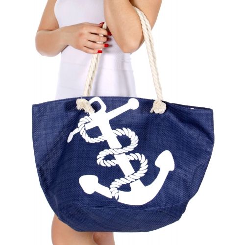 Wholesale T22C Big anchor print beach bag NAVY