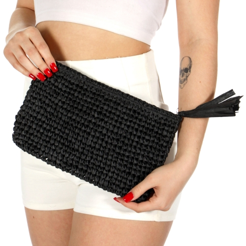 Wholesale T33B Solid woven straw clutch w/ tassel BLACK