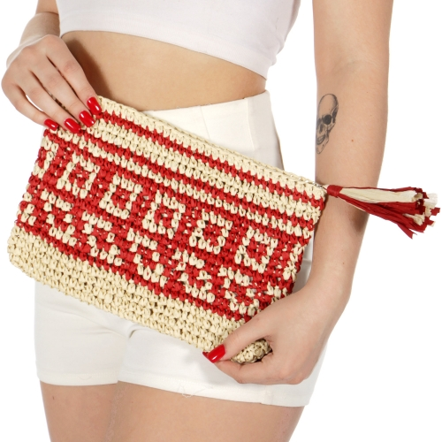 Wholesale T33C Geometric pattern woven straw clutch BEIGE