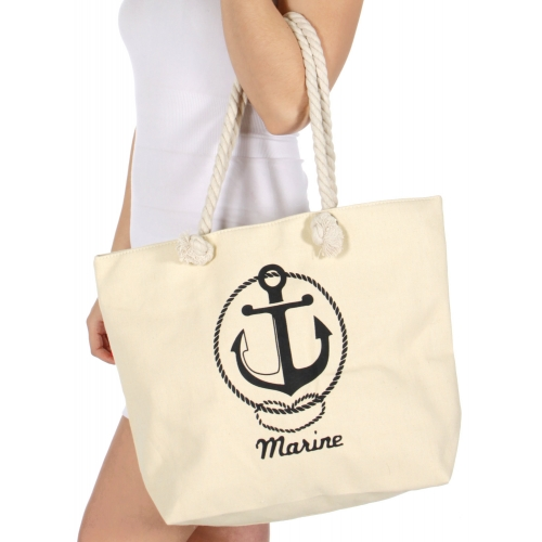 Wholesale T25C Anchor print beach bag BEIGE
