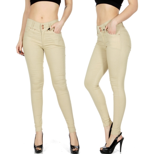 Wholesale E40 Two buttons stretch skinny pants BLK