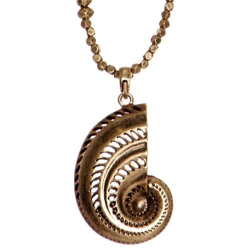 Wholesale WA00 Metal ammonite pendant necklace RGB