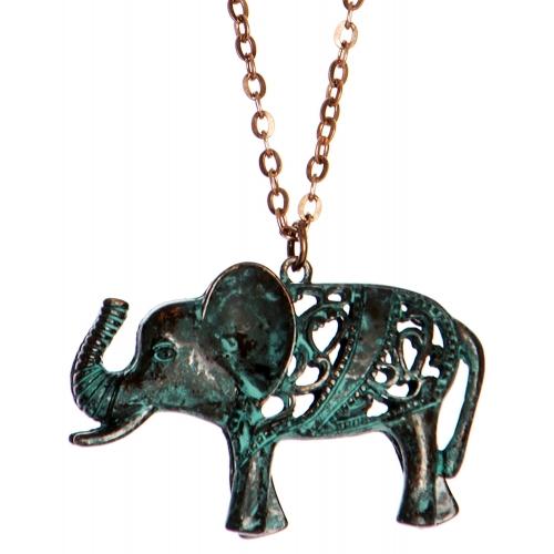 Wholesale WA00 Cutout elephant pendant necklace OG