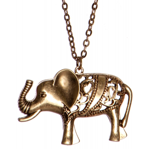 Wholesale WA00 Cutout elephant pendant necklace RGB