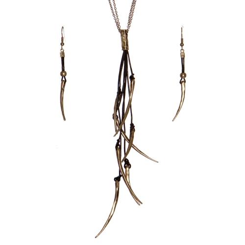 Wholesale WA00 Metal horns & leather necklace set RGB