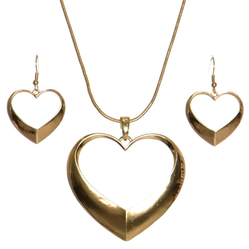 Wholesale WA00 Heart ring pendant necklace set G