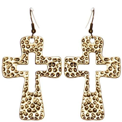 Wholesale WA00 Hammering cross cutout earrings RGB