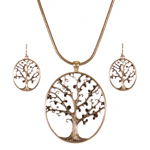Wholesale WA00 Tree of life cutout pendant necklace set AG