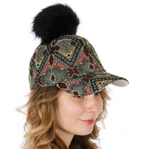 Wholesale Q51A Aztec embroidery baseball cap w/ faux fur pompom BKGRN
