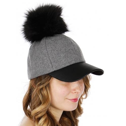 Wholesale Q51A Faux leather & wool baseball cap w/ faux fur pompom BKGRY