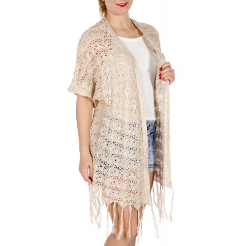 Wholesale J01E Fringe hem crocheted knit short sleeve cardigan Taupe