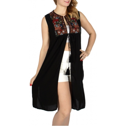 Wholesale K15C Diamonds & flower embroidery string tie open dress Black
