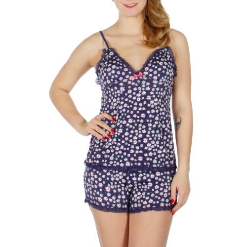 Wholesale K60D Floral print laced camisole & shorts pj set Navy