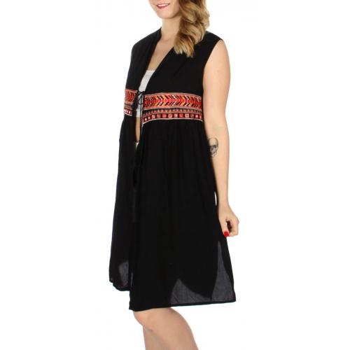 Wholesale K15A Chevron & sparkle embroidery string tie open dress Black