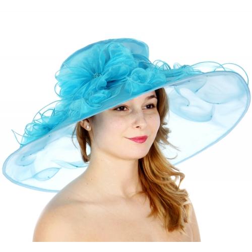Wholesale TX10 Blossom & ribbon solid organza hat Aqua