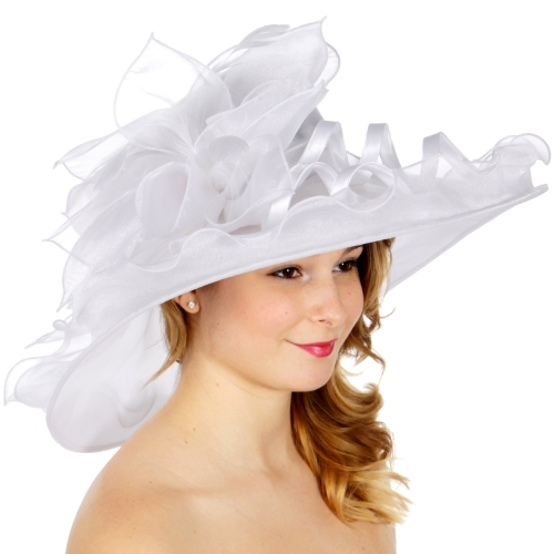 Wholesale BX00 Shiny organza flower & feather hat White