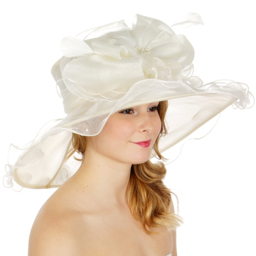 Wholesale BX00 Shiny organza bow flower & feather hat Champagne
