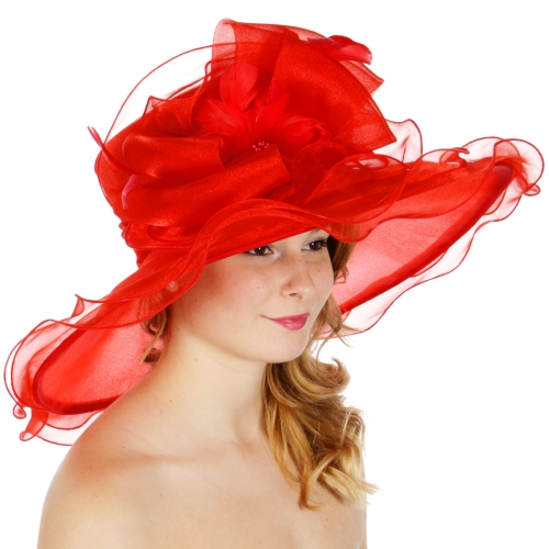 Wholesale BX00 Shiny organza bow flower & feather hat Red