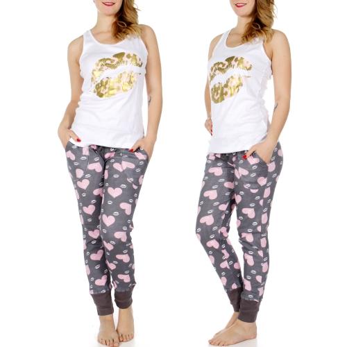 Wholesale K51B Lip print tank & jogger PJ pants set White
