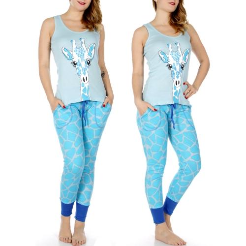 Wholesale Q50A Giraffe print tank & jogger PJ pants set Blue