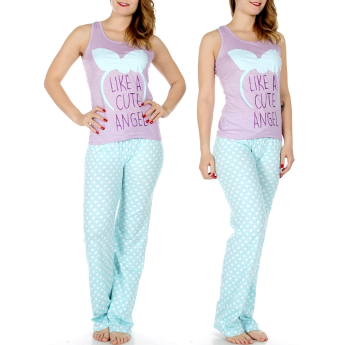 Wholesale T37B LIKE A CUTE ANGEL tank & PJ pants set Purple