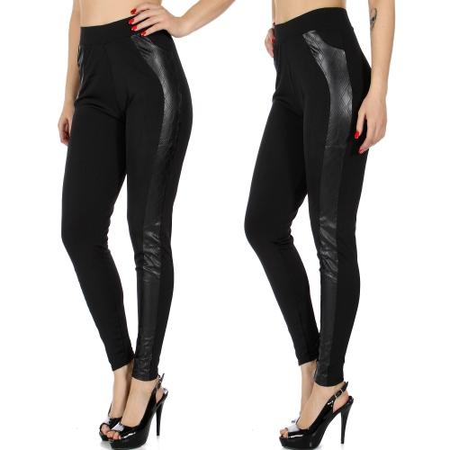 Wholesale A03E Scuba leggings w/ quilted pleather tux stripe insert