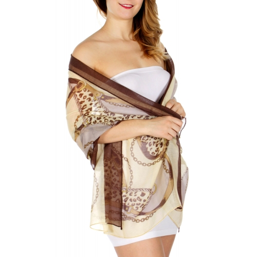 Wholesale D25 Print scarf Belt Brown (SZP012-B-4)