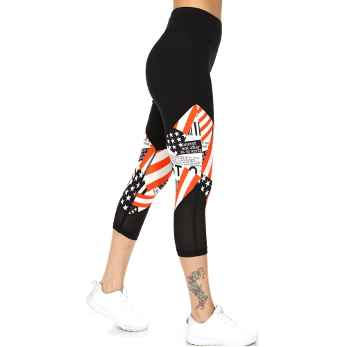 Wholesale A34A USA flag insert active capri leggings