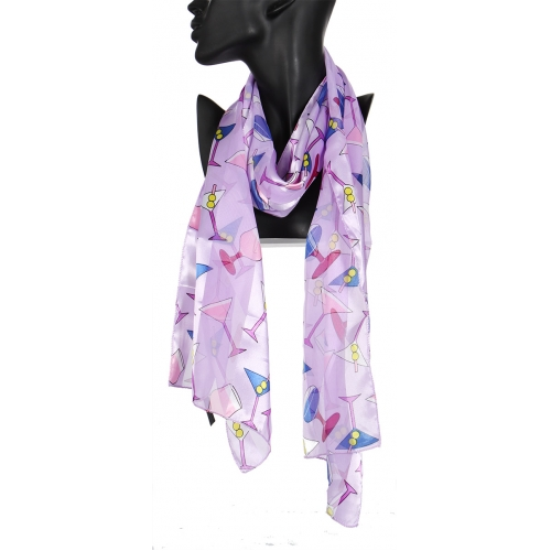 Wholesale WA00 13x60 Cocktail print oblong striped satin scarf BE