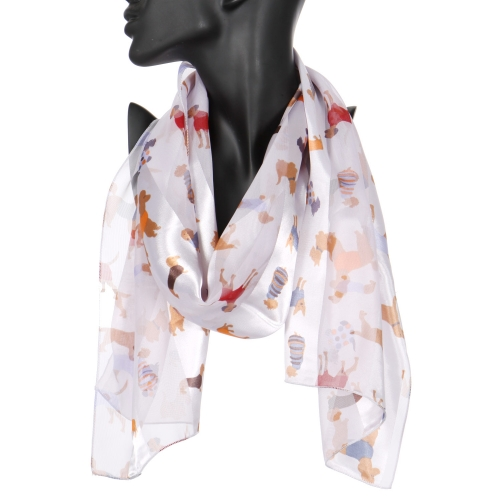 "Wholesale WA00 13""X60"" Stylish dogs print oblong striped satin scarf BK"
