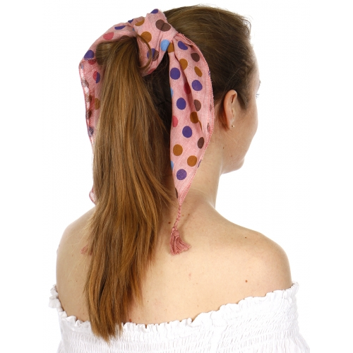 Wholesale I43B Square colorfu polka dots bandana w/ tassels