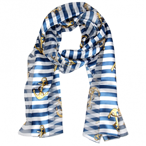 "Wholesale WA00 13""X60"" Anchor & stripes print oblong striped satin scarf RD"
