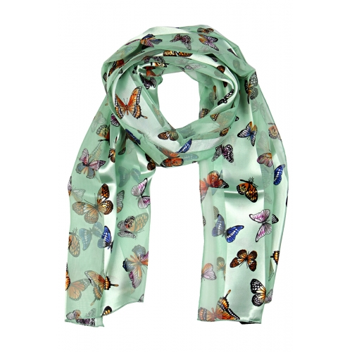 "Wholesale WA00 13""X60"" Garden butterfly print oblong striped satin scarf MI"