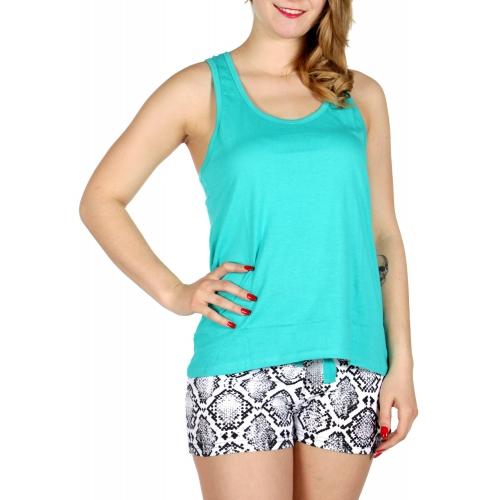 Wholesale E13D Solid tank & snake skin print shorts pj set Teal