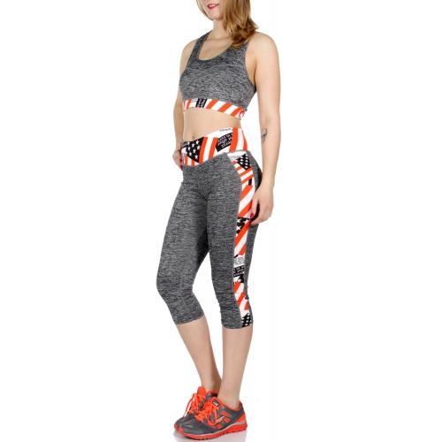 Wholesale A34E USA flag capri activewear set