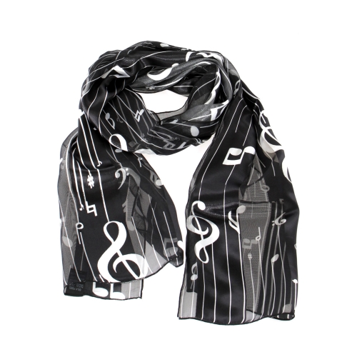 "Wholesale WA00 13""X60"" Large music note print oblong striped satin scarf BK/WH"