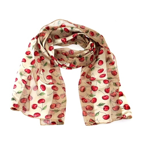 "Wholesale WA00 13""X60"" Cherry print oblong striped satin scarf BE"