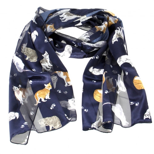 Wholesale WA00 13x60 Cats and paws print oblong striped satin scarf BK