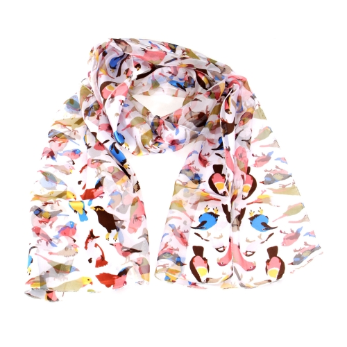 Wholesale WA00 13x60 Colorful birds print oblong striped satin scarf BK