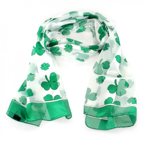 Wholesale WA00 13x60 Shamrock print oblong striped satin scarf BK/GN