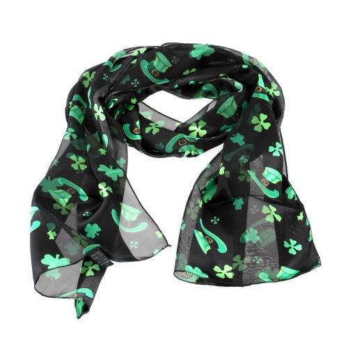Wholesale WA00 13x60 Shamrock & hat print oblong striped satin scarf BK