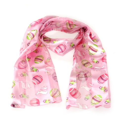Wholesale WA00 13x60 Easter bunny & eggs print oblong striped satin scarf BL