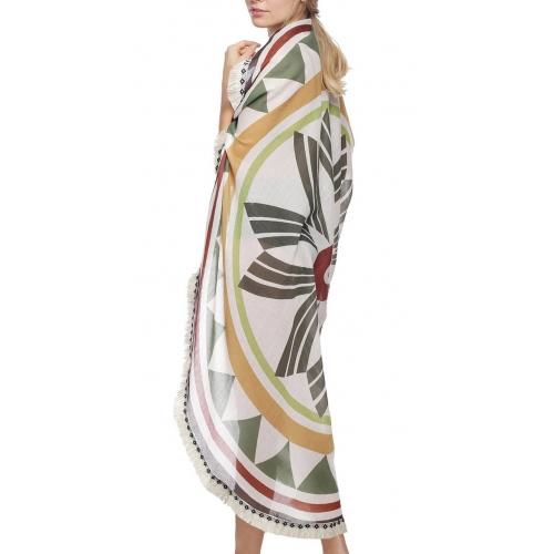 Wholesale I39C Geometric floral print round beach blanket & shawl w/ fringe