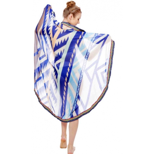 Wholesale I39D Simple tribal print round beach blanket & shawl w/ fringe